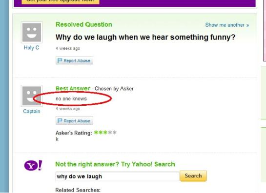 "Yahoo Answers tries to answer ""why we laugh"""